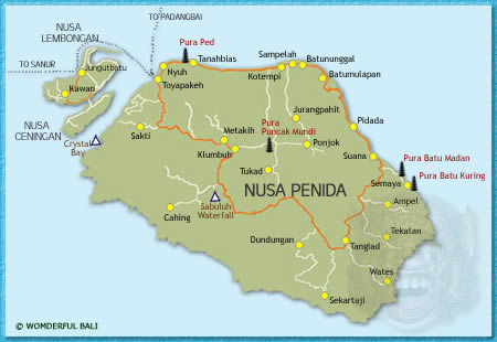 Nusa penida map wonderful bali nusa penida map gumiabroncs Images