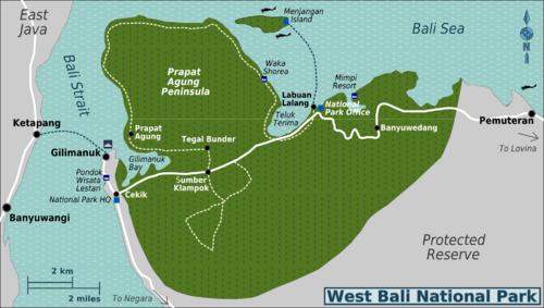 Bali Barat Park Map