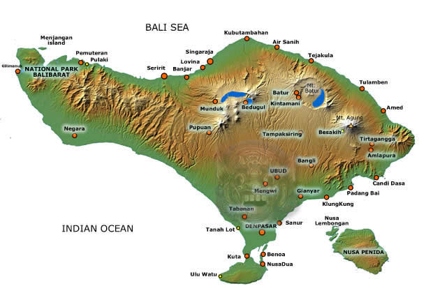 Bali map with most important towns and places