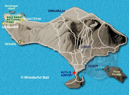 West bali map with places of interest to see west bali map altavistaventures Gallery
