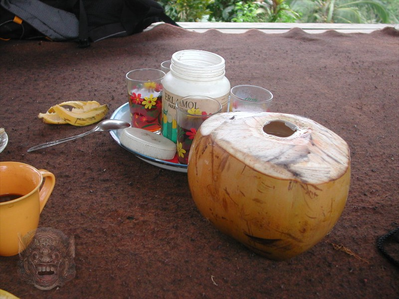Coffee or tea with cakes and fresh coconut milk