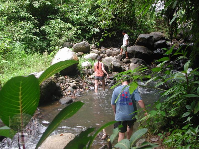 ...cross a small mountain river...